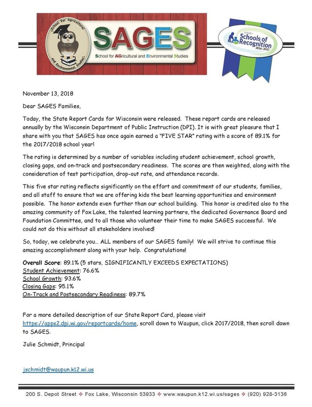 Letter to SAGES Families about Report Card Rating